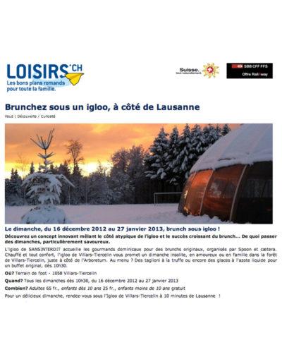 Le Matin/Loisirs.ch (12 février 2012)